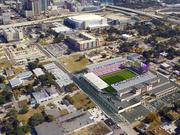 An aerial view of the Orlando City Soccer's MLS stadium in downtown Orlando.