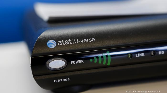 An AT&T Inc. U-verse TV system is displayed for sale at a store in Manhattan Beach, California, U.S., on Monday, July 22, 2013. AT&T Inc. is scheduled to release earnings figures on July 23. Photographer: Patrick T. Fallon/Bloomberg