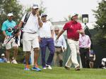 Phil Mickelson, Rory McIlroy and Bubba Watson practice at Valhalla
