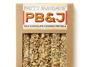 A box of Fatty Sundays Peanut Butter & Jelly milk chocolate covered pretzels