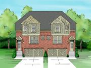 A rendering of the townhomes at Creekside Pointe, which will have nine-foot ceilings and crown molding.