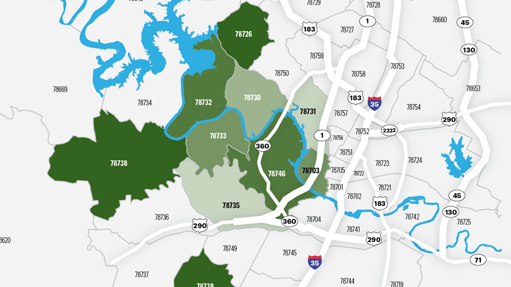 Where the wealthy live: Austin's richest zip codes