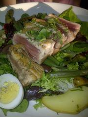 Seared ahi nicoise salad with boiled egg, green beans, marinated olives, fingerling potatoes and white balsamic vinaigrette