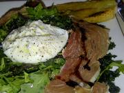 Crispy kale and burrata salad with olive oil, balsamic and speck