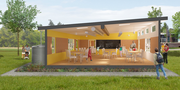 An exterior rendering of the SAGE team's green portable classroom.