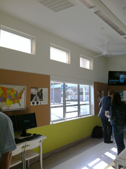 The windows of the SAGE team's green portable classroom allow far more natural light, and energy savings, than that accorded in typical modular classrooms.
