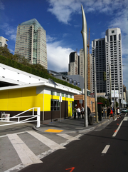The SAGE green modular classroom sat on a downtown San Francisco street during last year's GreenBuild Conference.