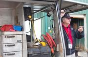Mike Shipley, a paddock blacksmith for the Maryland Jockey Club, explains how horseshoes are fitted during a tour of Pimlico on Wednesday morning.