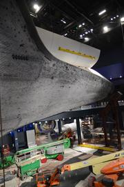 The floor beneath the orbiter will be reflective, adding even more dimension to the exhibit.