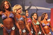 Contestants in the women bodybuilding competition.