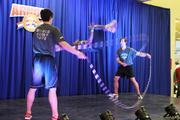 A world jump rope team gives a demo.