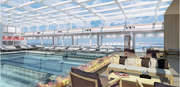 The main pool has a retractable dome permitting any-season swimming.
