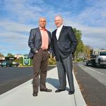 In suburbia, a sidewalk (now) runs through it