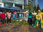 Costumed Carolina Panthers bring Halloween spirit to Levine Children's Hospital (PHOTOS)