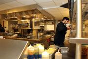 From inside the kitchen, preparation under way for the lunch crowd.