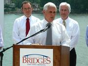 Indiana Gov. Mike Pence talked about the economic importance of building the East End bridge.