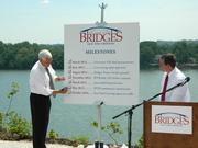 Indiana Gov. Mike Pence checked off the latest box marking the beginning of construction on the East End Crossing.