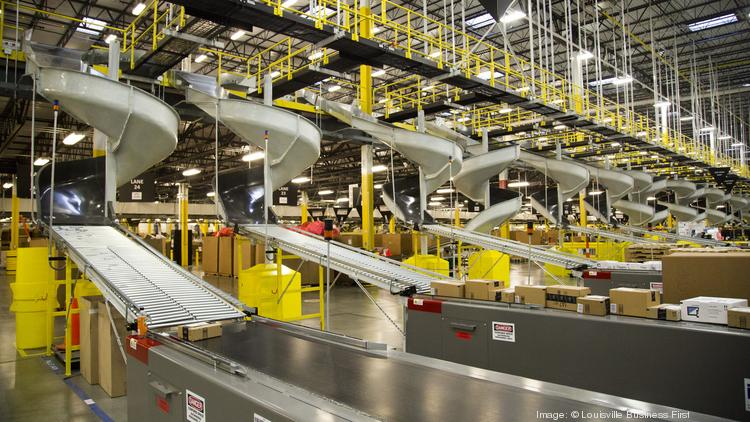 at amazoncoms fulfillment center in jeffersonville these chutes deliver packages from a conveyer