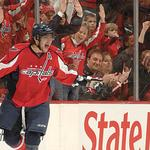 Washington Capitals forward Alex Ovechkin scores in Washington