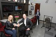 Vaco Managing Partner Bradley Hewett, with office designer Angela Davis, principal at Junto Design Firm. Vaco's space was designed as much for clients as it was for employees.