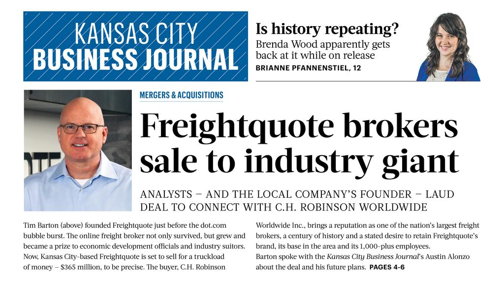 3047f1f4df7 First in Print  Freightquote brokers giant sale - Kansas City Business  Journal
