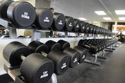 Free weights at the Honolulu Club go up to 130 pounds.