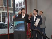Nick Lachey, left, and Drew Lachey, right, accepted a plaque from Cincinnati Mayor John Cranley, who proclaimed it Nick and Drew Lachey Day when they opened Lachey's Bar in Over-the-Rhine.