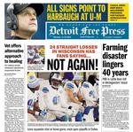 Detroit newspaper's front page has John <strong>Harbaugh</strong> heading to Michigan