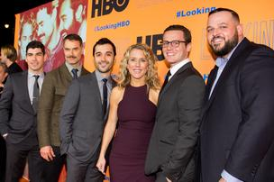 """The cast members of HBO's """"Looking"""" pose for photos at the Castro Theatre during the series' season 2 premiere on Tuesday."""