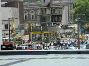 The view from JFK Blvd. of first responders at a building collapse in Center City.