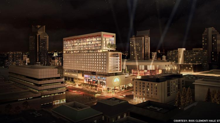 This Is A Night View Of Planned 16 Story Hotel Tower Across From The