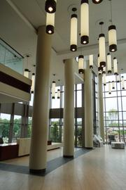 The main lobby of the North Tower is now the main entrance to Moses H. Cone Memorial Hospital with the completion of a temporary connecting corridor this month. A permanent corridor will be completed this summer.