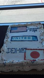 A cake marking the flight. United Airlines and Colorado officials mark the debut of United's Denver-to-Tokyo nonstop service at a pre-flight ceremony at Denver International Airport on June 10, 2013.
