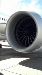 A Dreamliner engine. United Airlines and Colorado officials mark the debut of United's Denver-to-Tokyo nonstop service at a pre-flight ceremony at Denver International Airport on June 10, 2013.