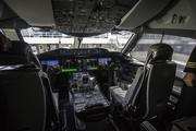 Inside the cockpit of the  Boeing 787 Dreamliner that would later fly to Tokyo. United Airlines and Colorado officials mark the debut of United's Denver-to-Tokyo nonstop service at a pre-flight ceremony at Denver International Airport on June 10, 2013.