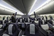 Inside the Boeing 787 Dreamliner that would later fly to Tokyo. United Airlines and Colorado officials mark the debut of United's Denver-to-Tokyo nonstop service at a pre-flight ceremony at Denver International Airport on June 10, 2013.