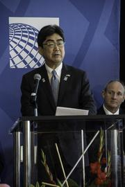 United Airlines and Colorado officials mark the debut of United's Denver-to-Tokyo nonstop service at a pre-flight ceremony at Denver International Airport on June 10, 2013. Speaking: kuhiko Ono, consul-general of Japan in Denver.