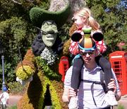 Topiary Captain Hook photo bomb can't outshine the Goofy mouse ears.