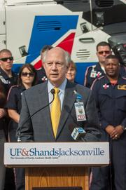 New Shands Jacksonville CEO Russell E. Armistead, spoke at a ceremony announcing new medical  helicopters recently.