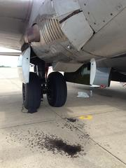 FiFi shows its age (and its engines) with the leaking of oil onto the tarmac.