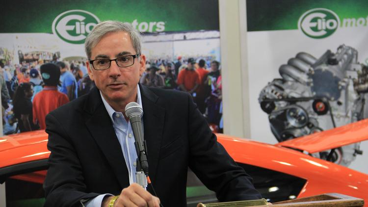 Paul Elio, founder of Elio Motors, addresses members of the media at a press conference at the Javits Center in New York City on Thursday, April 2, 2015.