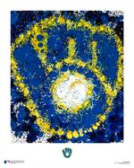 Classic Brewers logo reimagined, Jackson Pollock-style