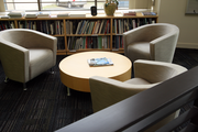 The library at Dull Olson Weekes doubles as a meeting area.