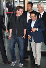 At Samsung, Zuckerberg was greeted by Lee Don Joo, the company's president of mobile sales and marketing.
