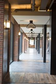 A hallway leads to the pool and fitness center at Union Wharf.