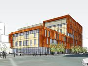 A rendering of the new HCMC outpatient clinic planned near health care provider's main hospital downtown. This view is from the corner of Chicago Avenue and Ninth Street.