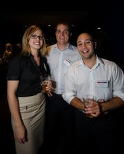 From left: Julie Leeper of Farmers Insurance, Patrick Hohn of Landstar Transportation and Devin D'Alessandro of GKPrints.com.
