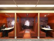 """Private spaces """"Workplace privacy — visual and acoustical — are also becoming more important, with flexible furniture and equipment to accommodate workspaces,"""" said Daniel Herriott, director of design and interiors at HOK."""