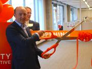 CEO Andrew Birch cuts the ribbon for Sungevity Inc.'s new offices in downtown Kansas City.