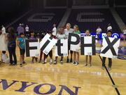 In March, Olympic gold medal swimmer Misty Hyman participated in a free FitPHX basketball camp at Grand Canyon University with more than 100 youngsters from around the Valley.